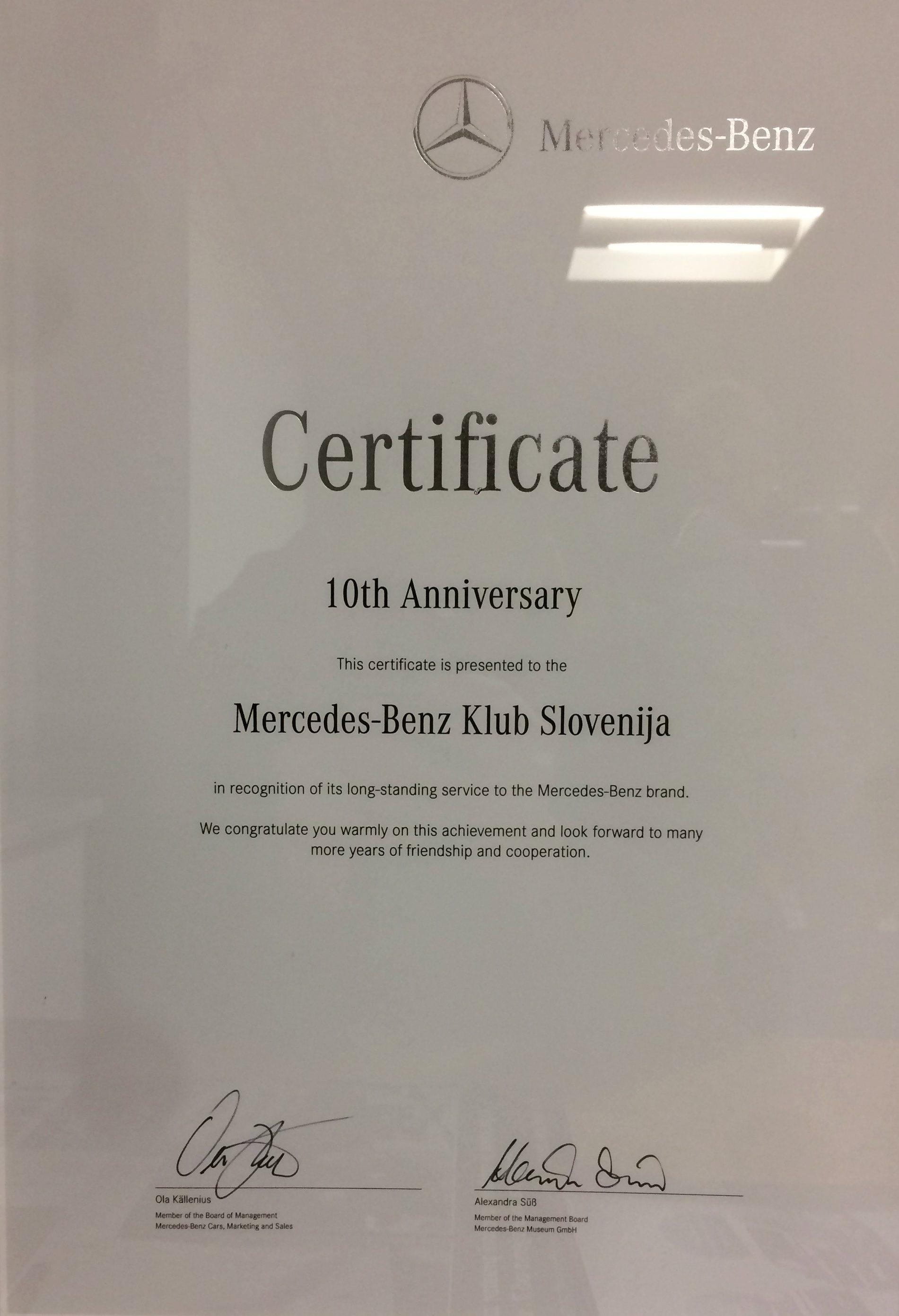 Priznanje Mercedes-Benz Clubs Managementa (MBCM).